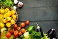 Картинка зелень, баклажаны, перец, помидоры, peppers, tomatoes