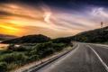 Картинка дорога, небо, пейзаж, закат, HDR