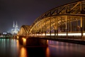 Картинка ночь, Германия, night, germany, Кёльн, cologne, Rhine River