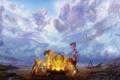 Картинка небо, board game, Garrosh Hellscream, clouds, Neltharion, children, Смертокрыл
