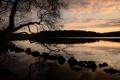 Картинка закат, озеро, отражение