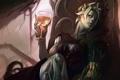 Картинка девушка, бокал, арт, демоница, Guild Wars 2