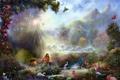 Картинка лес, бабочки, пейзаж, цветы, птицы, природа, рай