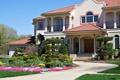 Картинка трава, цветы, дом, газон, дорожки, особняк, кусты