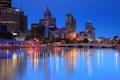 Картинка city, дома, вечер, мосты, высотки, Australia, деревья.