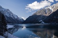 Картинка зима, горы, снег, озеро