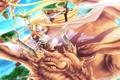 Картинка девушка, полет, дракон, меч, фея, арт, miyako910724
