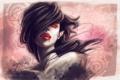 Картинка кровь, арт, клыки, вампир, нарисованная девушка