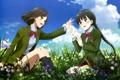 Картинка лето, небо, цветы, девушки, божья коровка, форма, suzuhara izumiko