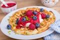 Картинка малина, завтрак, черника, орехи, вафли, джем, nuts