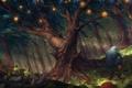 Картинка листья, бабочки, дерево, ветер, существо, огоньки, фонари