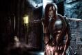 Картинка девушка, ночь, город, оружие, меч, катана, арт