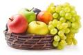Картинка яблоки, Виноград, корзинка