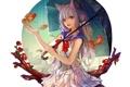 Картинка девушка, рыбки, цветы, зонт, аниме, арт, форма