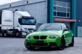 Картинка зеленый, green, bmw, бмв, грузовик, вид спереди, e92
