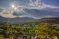 Картинка небо, облака, пейзаж, горы, природа, город, фото