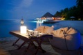 Картинка тропики, океан, лампа, вечер, столик