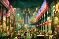 Картинка машины, город, огни, небоскребы, зомби, казино, улицы