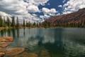 Картинка лес, облака, озеро, гора