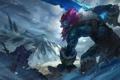 Картинка холод, снег, горы, монстр, меч, арт, трупы