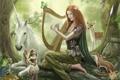 Картинка лес, девушка, музыка, звери, фея, арт, арфа