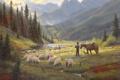 Картинка лес, небо, свет, река, конь, овцы, собака