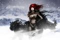 Картинка зима, девушка, волк, арт
