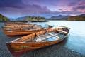 Картинка закат, река, лодки