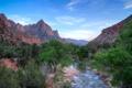 Картинка небо, деревья, горы, река, Юта, США, zion national park