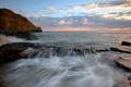 Картинка море, небо, пейзаж, закат, природа, скалы