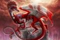 Картинка белый, красный, дракон, пень, перья, арт