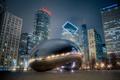 Картинка ночь, город, Чикаго, Иллиноис, монумент, милениум парк