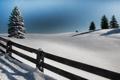 Картинка зима, снег, дерево, доски, забор, ель