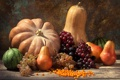 Картинка осень, урожай, тыква, autumn, leaves, nuts, still life