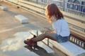Картинка асфальт, девушка, улица, ботинки, лужа