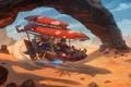 Картинка пустыня, гонщик, летательный аппарат, Real-SonkeS
