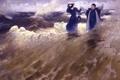 Картинка море, волны, вода, женщина, картина, мужчина