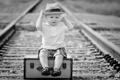 Картинка настроение, мальчик, железная дорога, чемодан