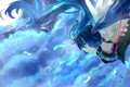 Картинка небо, девушка, облака, улыбка, крылья, аниме, арт