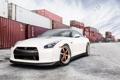 Картинка белый, небо, Nissan, GT-R, ниссан, контейнеры, WHITE