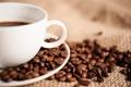 Картинка макро, кофе, зерна, чашка, белая