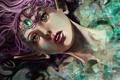 Картинка девушка, лицо, волосы, камень
