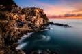 Картинка sea, sunset, italy, wave, town, manarola
