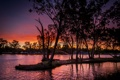 Картинка закат, парк, река, вечер