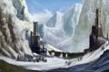 Картинка снег, деревья, горы, фантастика, арт, башни, руины
