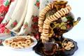 Картинка чай, печенье, бублики, самовар, поднос, сушки