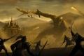 Картинка город, оружие, огонь, магия, меч, войны, лук
