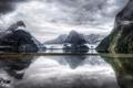 Картинка горы, озеро, птица, New Zealand, Milford Sound, Southland