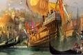 Картинка город, чайки, арт, порт, Венеция, флаги, гавань
