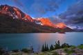 Картинка лес, горы, свет, озера, Канада